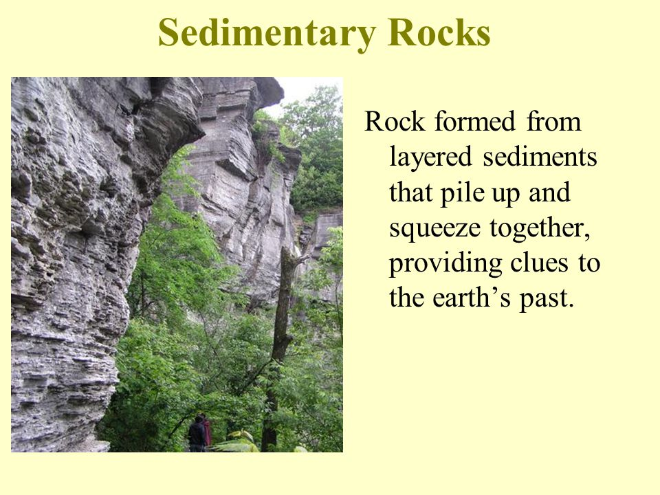 Sedimentary Rocks Rock formed from layered sediments that pile up and squeeze together, providing clues to the earth's past.