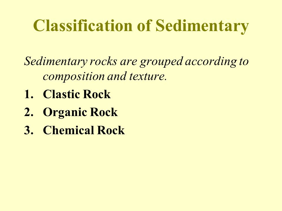 Classification of Sedimentary