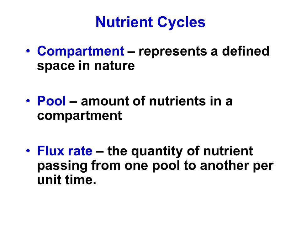 Nutrient Cycles Compartment – represents a defined space in nature