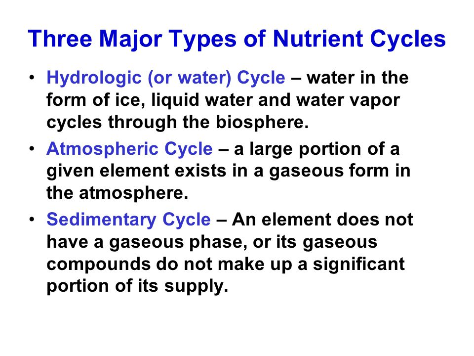 Three Major Types of Nutrient Cycles