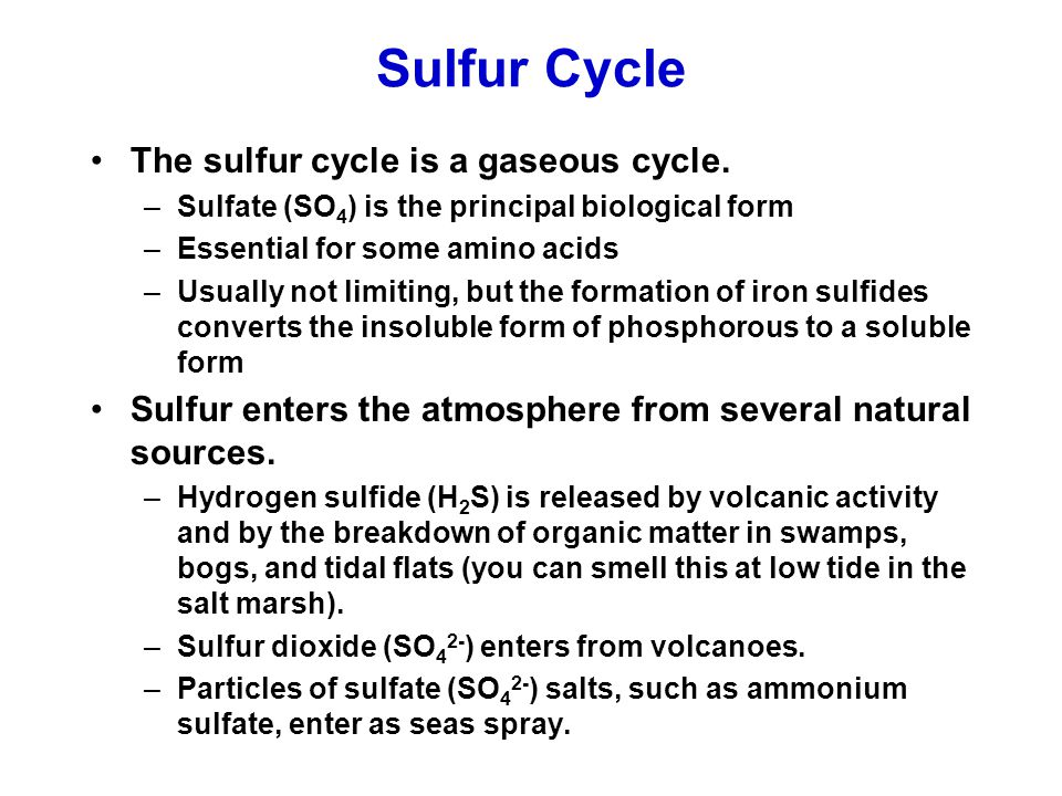 Sulfur Cycle The sulfur cycle is a gaseous cycle.