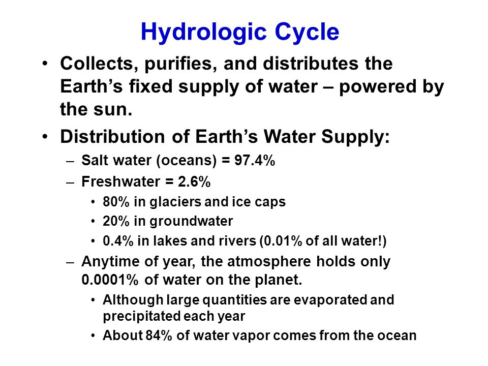 Hydrologic Cycle Collects, purifies, and distributes the Earth's fixed supply of water – powered by the sun.