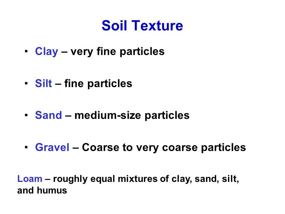 Soil Texture Clay – very fine particles Silt – fine particles