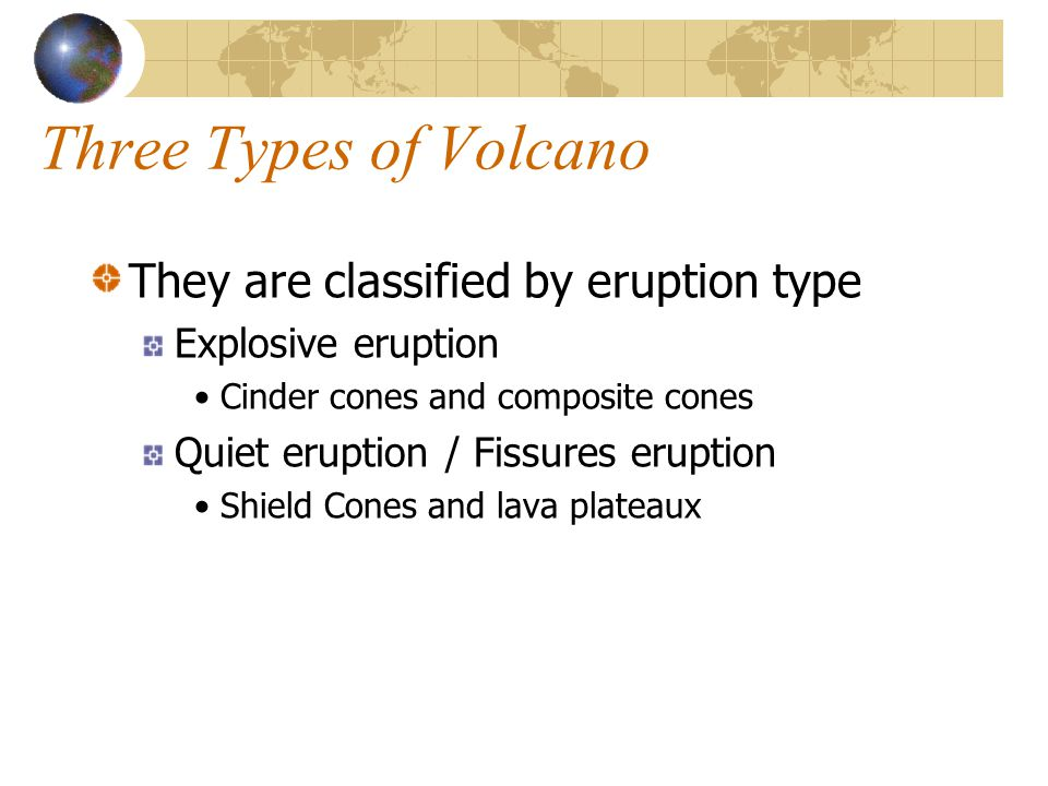 Three Types of Volcano They are classified by eruption type