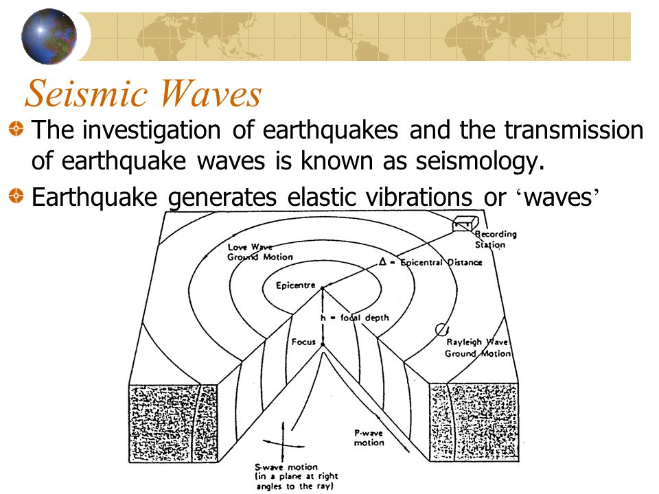 Seismic Waves The investigation of earthquakes and the transmission of earthquake waves is known as seismology.