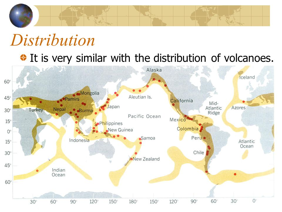 Distribution It is very similar with the distribution of volcanoes.