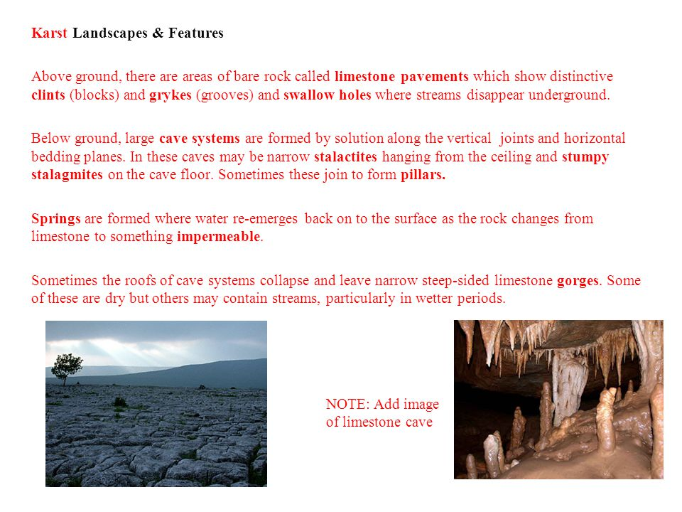 Karst Landscapes & Features Above ground, there are areas of bare rock called limestone pavements which show distinctive clints (blocks) and grykes (grooves) and swallow holes where streams disappear underground. Below ground, large cave systems are formed by solution along the vertical joints and horizontal bedding planes. In these caves may be narrow stalactites hanging from the ceiling and stumpy stalagmites on the cave floor. Sometimes these join to form pillars. Springs are formed where water re-emerges back on to the surface as the rock changes from limestone to something impermeable. Sometimes the roofs of cave systems collapse and leave narrow steep-sided limestone gorges. Some of these are dry but others may contain streams, particularly in wetter periods.