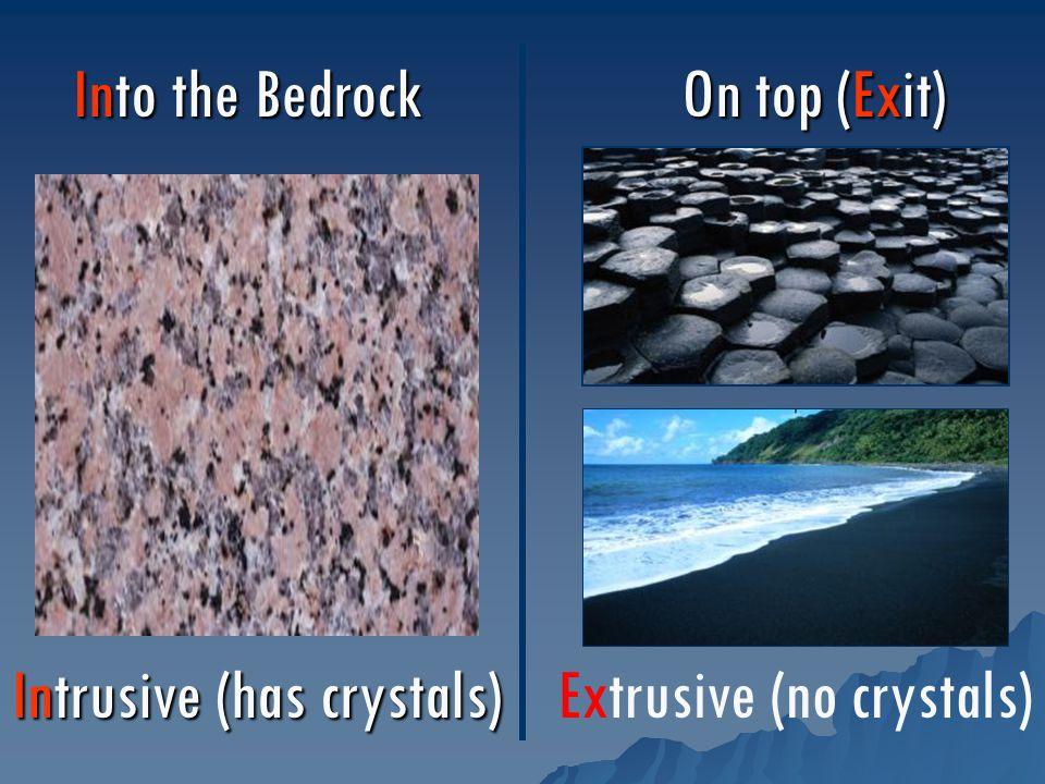 Into the Bedrock On top (Exit) Intrusive (has crystals) Extrusive (no crystals)