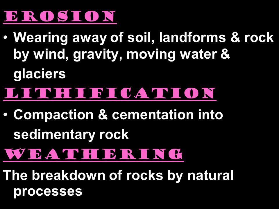 erosion Wearing away of soil, landforms & rock by wind, gravity, moving water & glaciers. lithification.