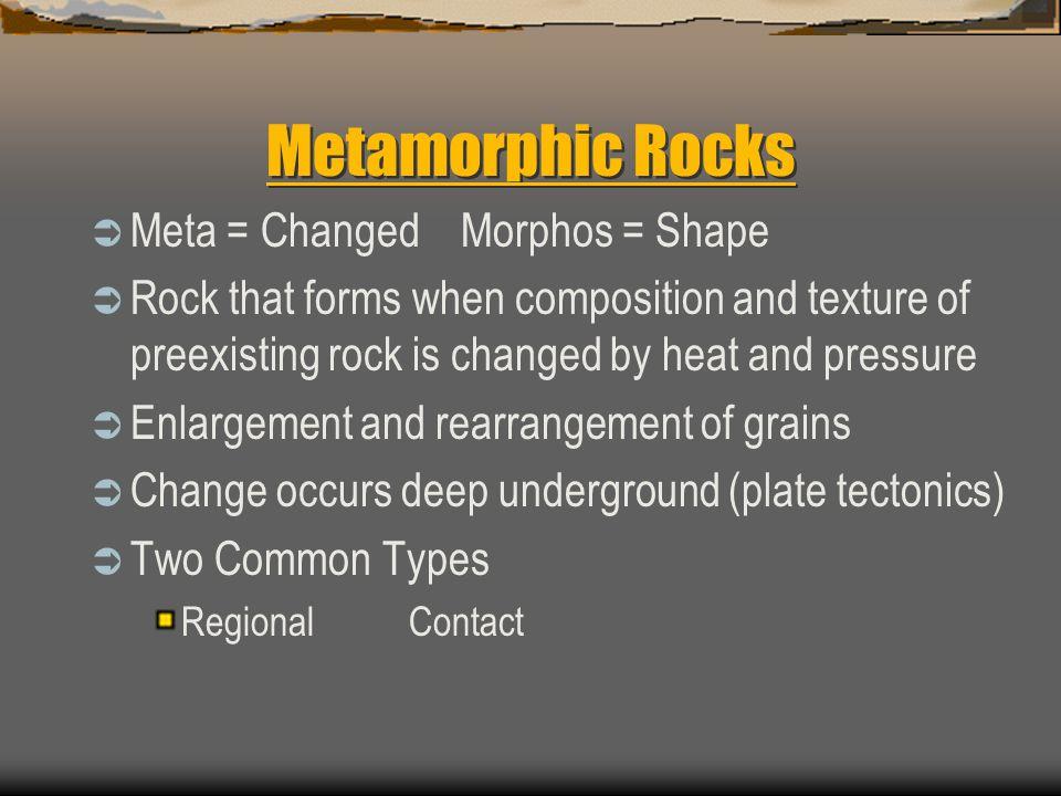 Metamorphic Rocks Meta = Changed Morphos = Shape