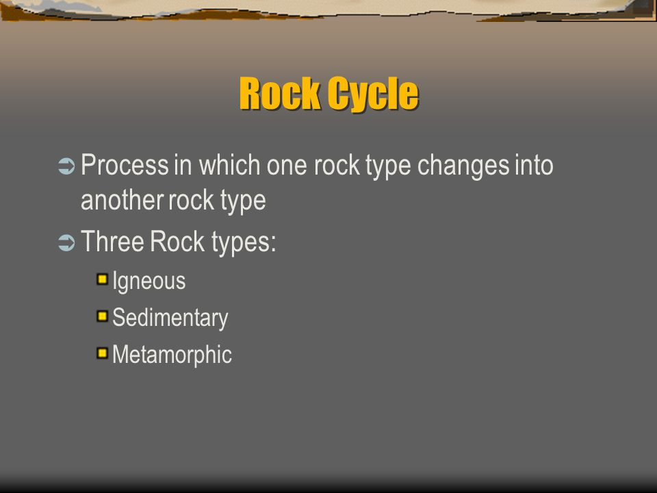 Rock Cycle Process in which one rock type changes into another rock type. Three Rock types: Igneous.