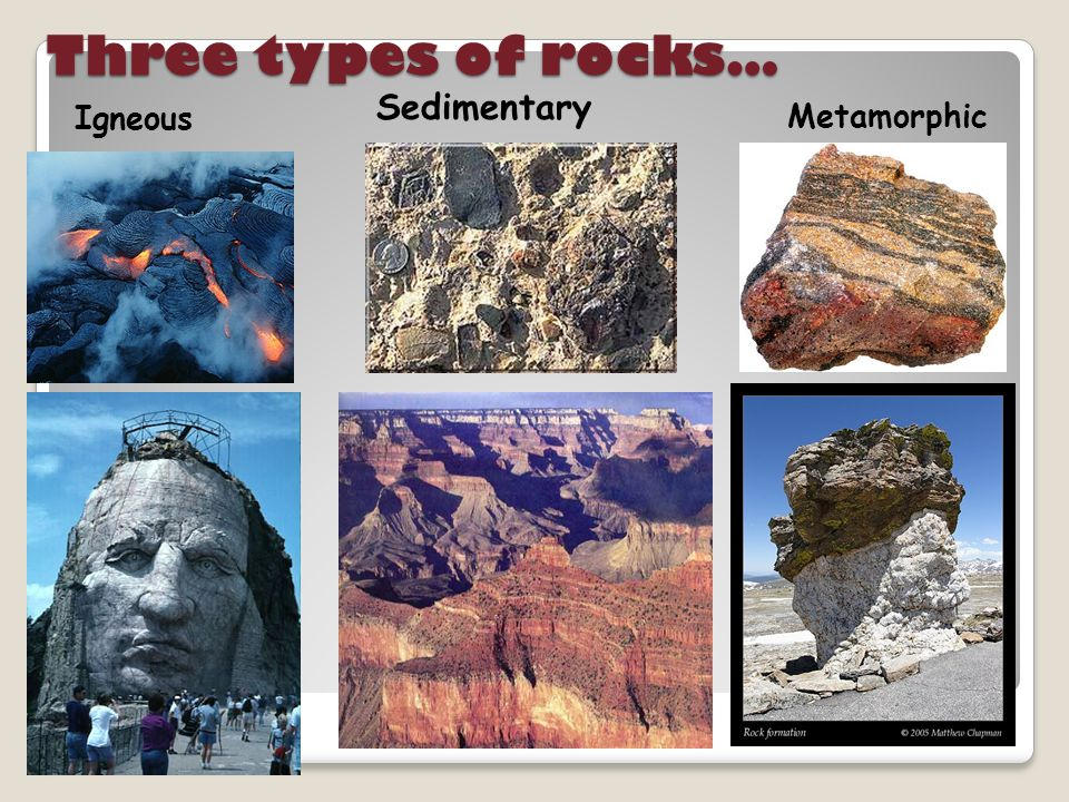Three types of rocks… Sedimentary Igneous Metamorphic
