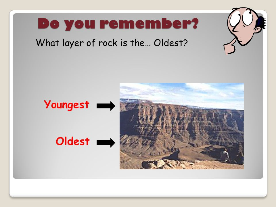 Do you remember What layer of rock is the… Oldest Youngest Oldest
