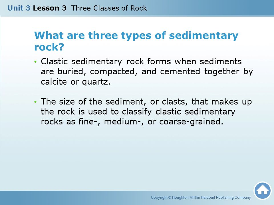 What are three types of sedimentary rock