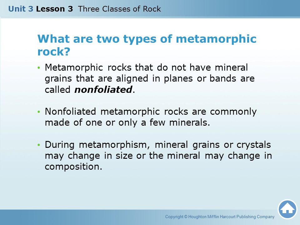What are two types of metamorphic rock