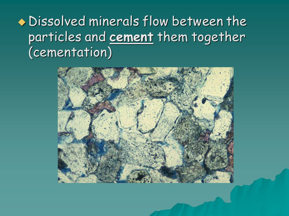 Dissolved minerals flow between the particles and cement them together (cementation)