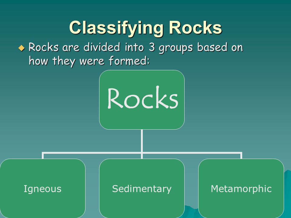 Classifying Rocks Rocks are divided into 3 groups based on how they were formed: