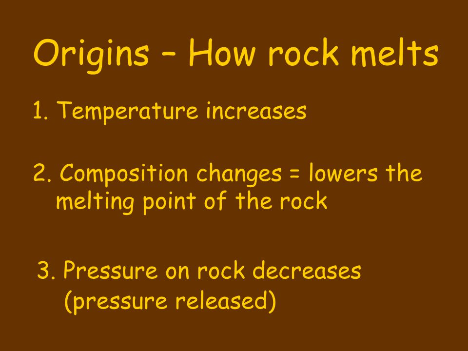 Origins – How rock melts