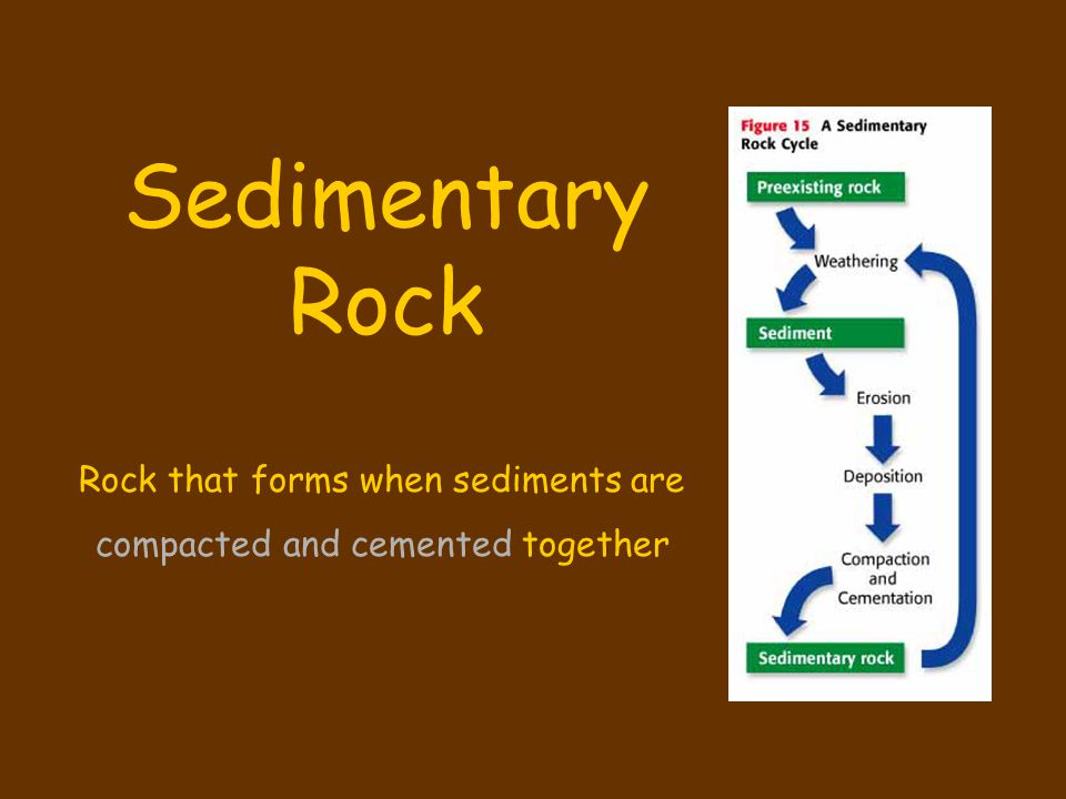 Sedimentary Rock Rock that forms when sediments are
