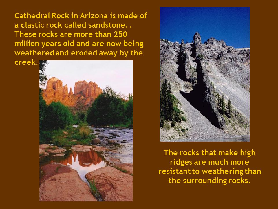 Cathedral Rock in Arizona is made of a clastic rock called sandstone