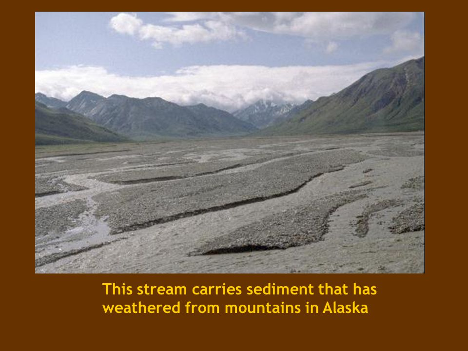 This stream carries sediment that has weathered from mountains in Alaska