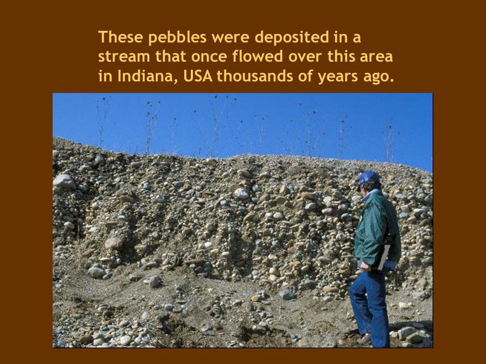 These pebbles were deposited in a stream that once flowed over this area in Indiana, USA thousands of years ago.