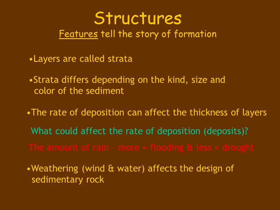 Structures Features tell the story of formation