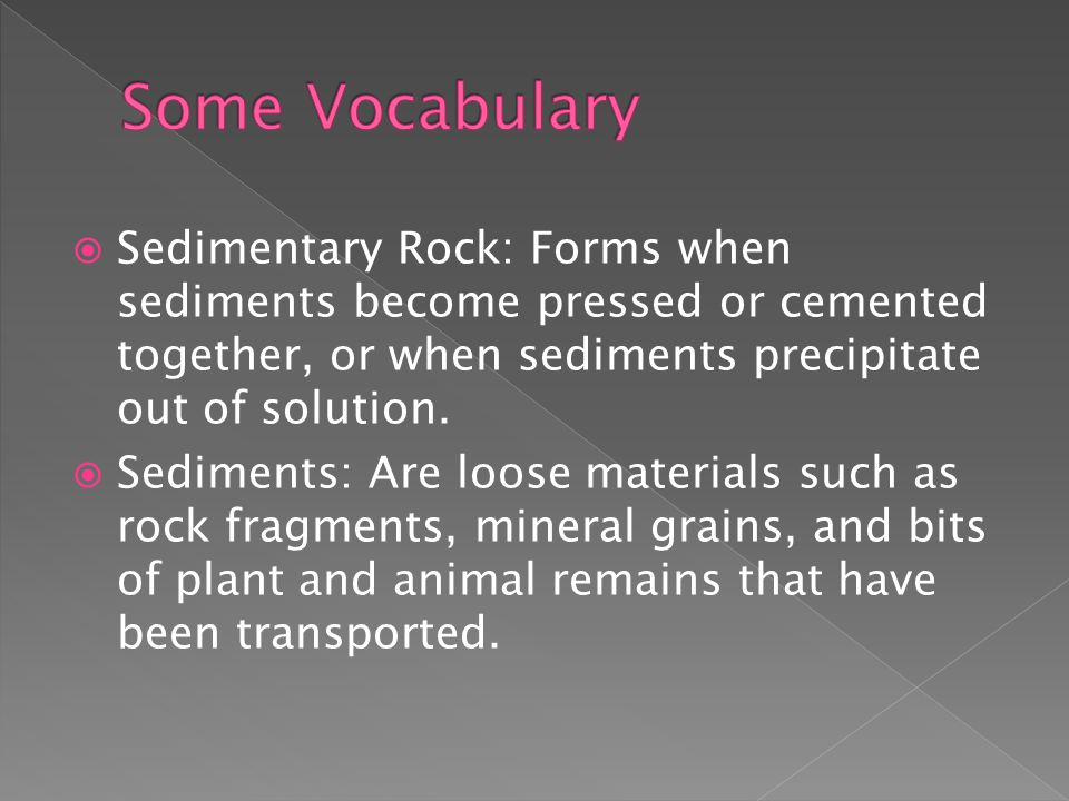 Some Vocabulary Sedimentary Rock: Forms when sediments become pressed or cemented together, or when sediments precipitate out of solution.