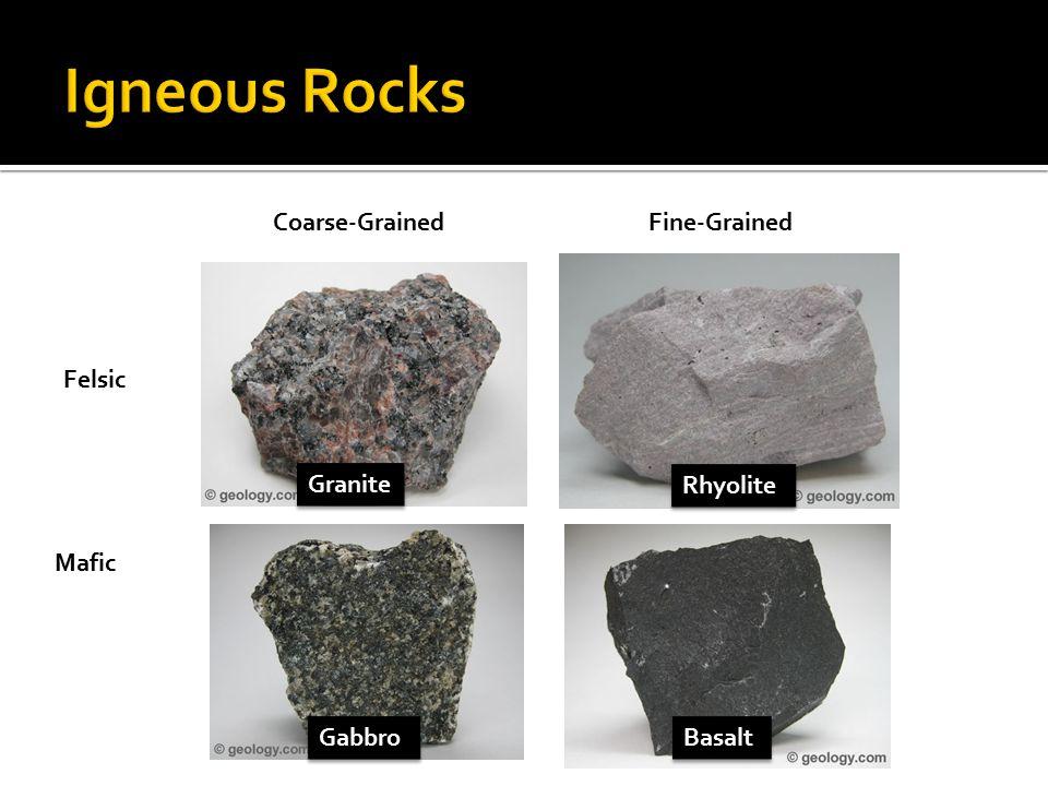 Igneous Rocks Coarse-Grained Fine-Grained Felsic Granite Rhyolite