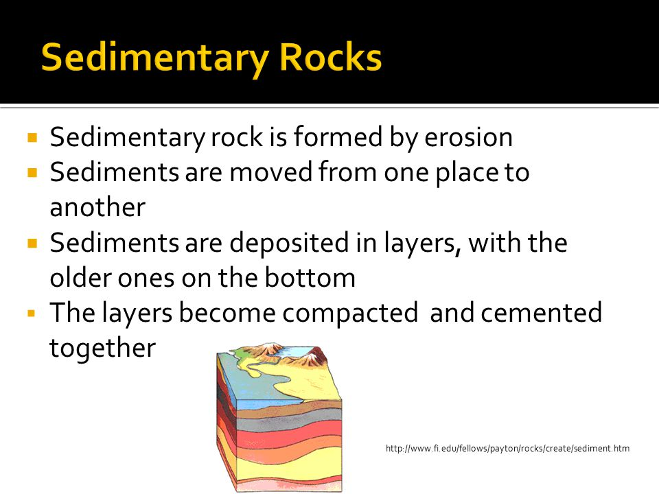 Sedimentary Rocks Sedimentary rock is formed by erosion