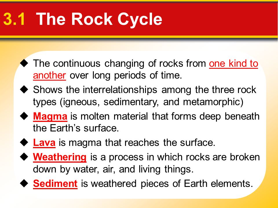 3.1 The Rock Cycle The continuous changing of rocks from one kind to another over long periods of time.