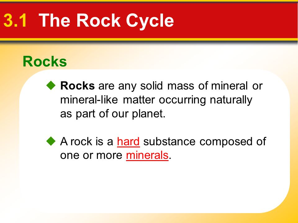 Rocks 3.1 The Rock Cycle. Rocks are any solid mass of mineral or mineral-like matter occurring naturally as part of our planet.
