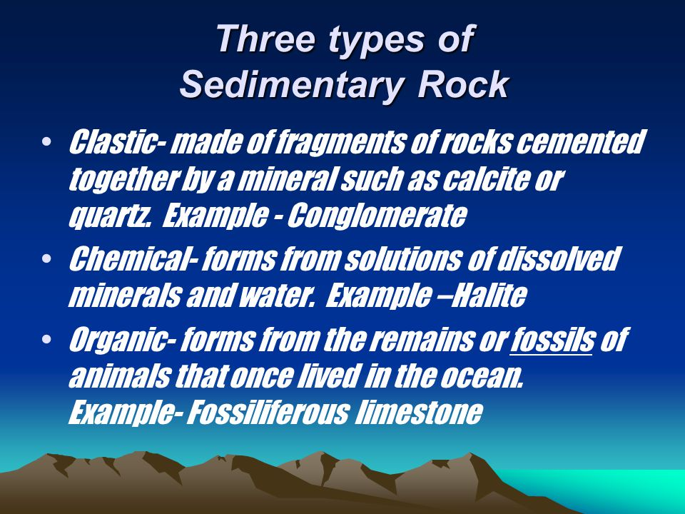 Three types of Sedimentary Rock