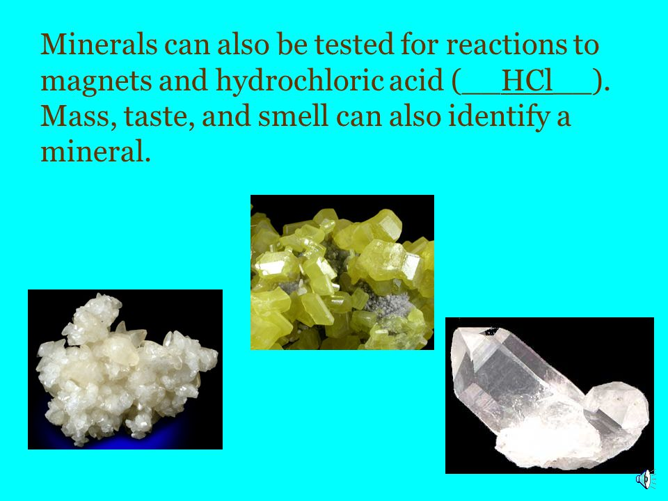 Minerals can also be tested for reactions to magnets and hydrochloric acid (__HCl__).