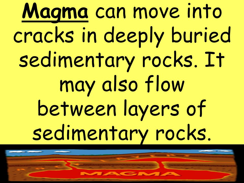 Magma can move into cracks in deeply buried sedimentary rocks