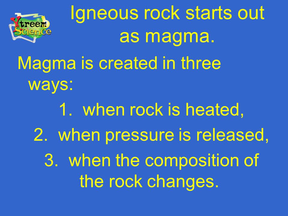 Igneous rock starts out as magma.
