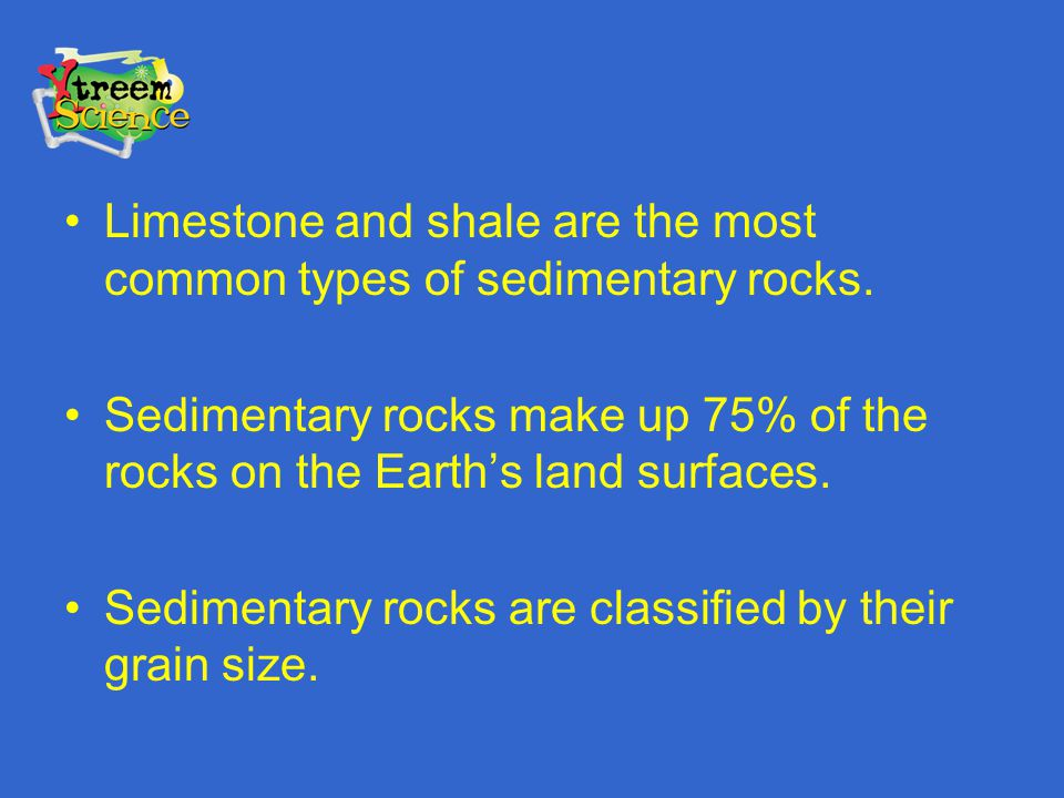 Limestone and shale are the most common types of sedimentary rocks.