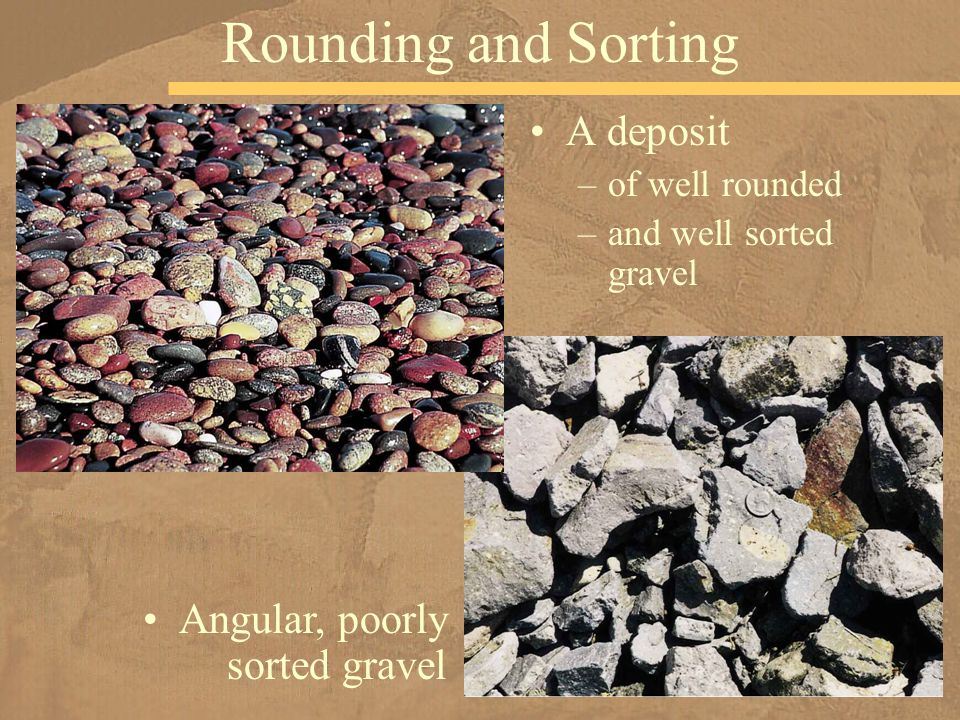 Rounding and Sorting A deposit Angular, poorly sorted gravel