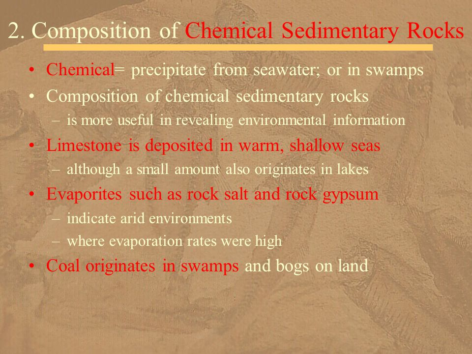 2. Composition of Chemical Sedimentary Rocks