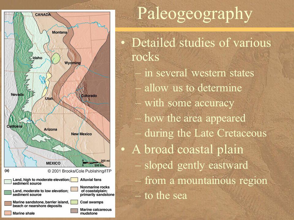 Paleogeography Detailed studies of various rocks A broad coastal plain