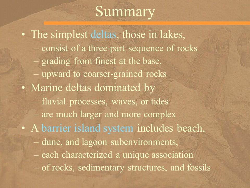 Summary The simplest deltas, those in lakes,