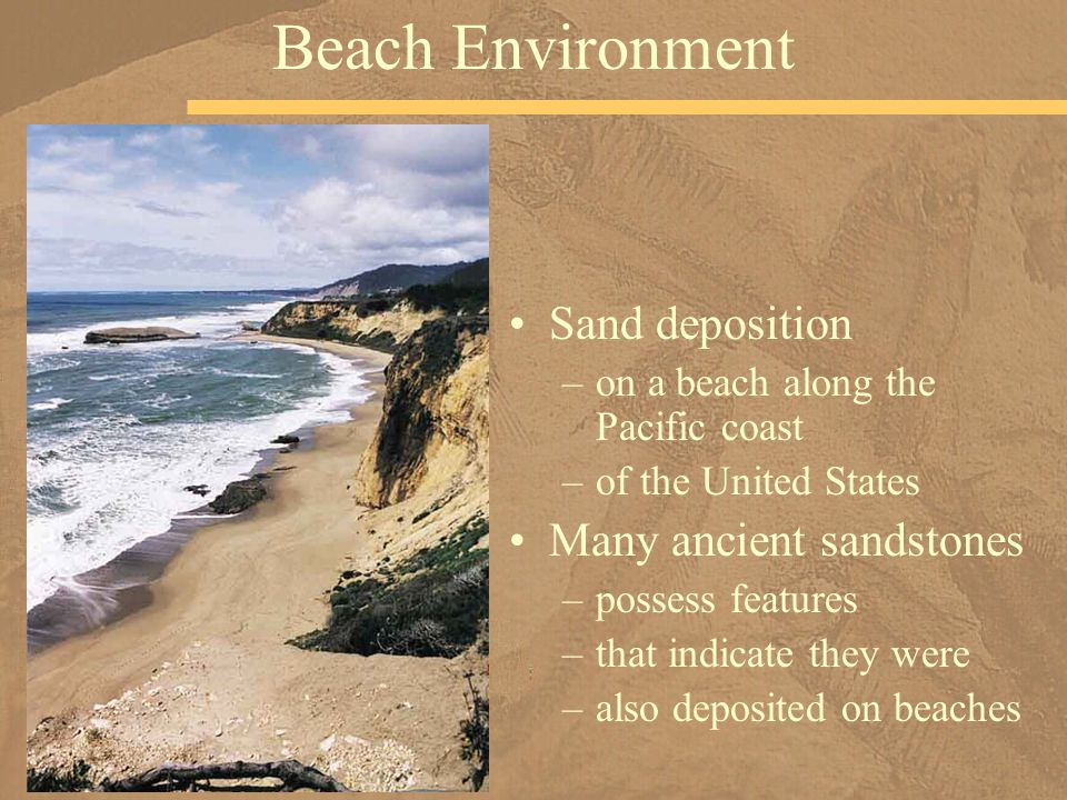 Beach Environment Sand deposition Many ancient sandstones