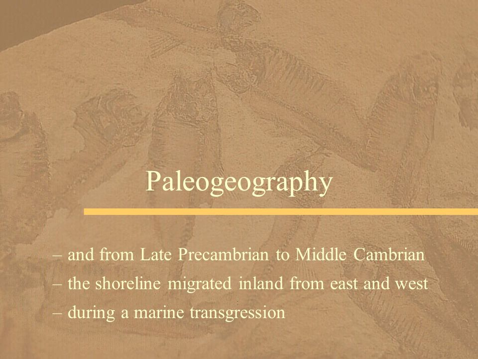 Paleogeography and from Late Precambrian to Middle Cambrian