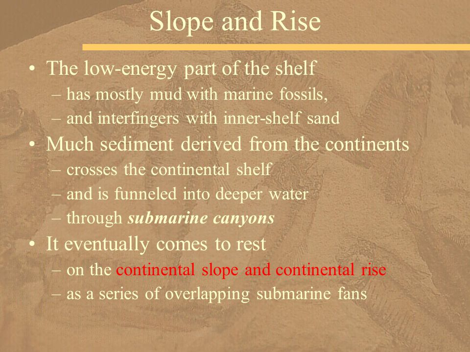 Slope and Rise The low-energy part of the shelf