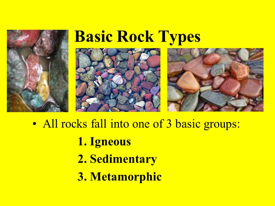 All rocks fall into one of 3 basic groups: