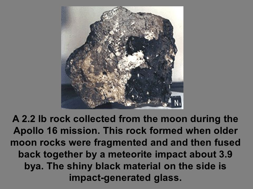 A 2. 2 lb rock collected from the moon during the Apollo 16 mission