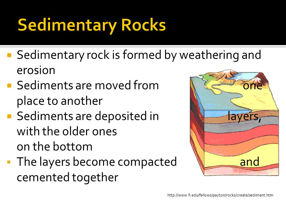 Sedimentary Rocks Sedimentary rock is formed by weathering and erosion
