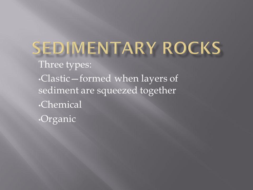 Sedimentary Rocks Three types: