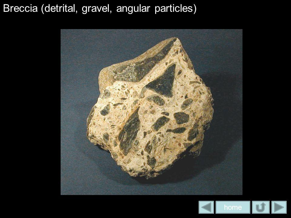 Breccia (detrital, gravel, angular particles)