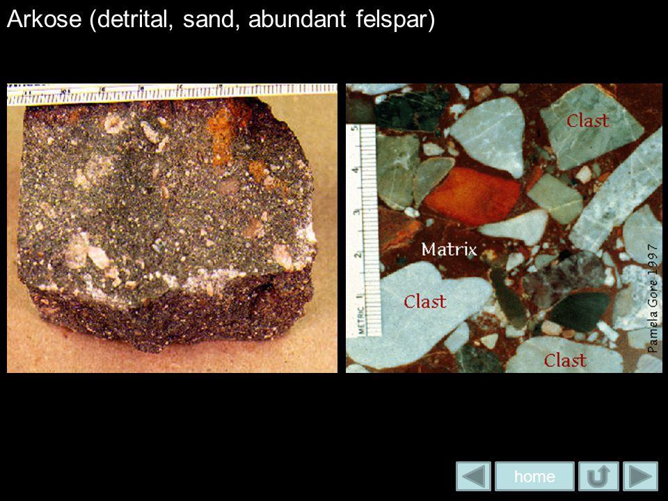 Arkose (detrital, sand, abundant felspar)